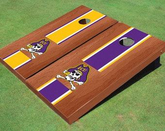 Eastern Carolina University Rosewood Alternating Long Stripe Cornhole Boards