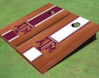 Texas A&M Rosewood Alternating Long Stripe Cornhole Boards
