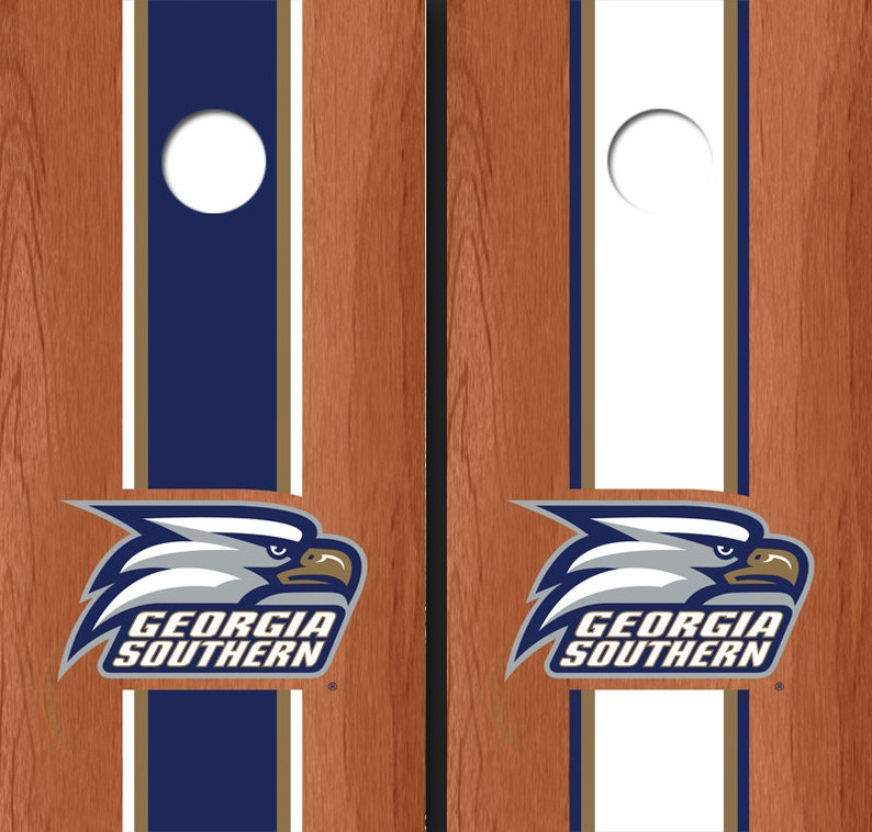 Corn Hole NCAA Georgia Southern University Head Logo Rosewood Alternating Long Stripe Cornhole Boards GSU-11019