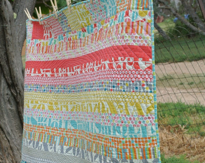 Circles and Squares Strips Quilt