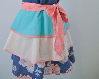 Women's Apron,  Apron, Full Apron, Vintage Style Apron, Girly Apron, Apron for Women, Layered Apron, Ruffled Apron, Cute Apron, Feminine