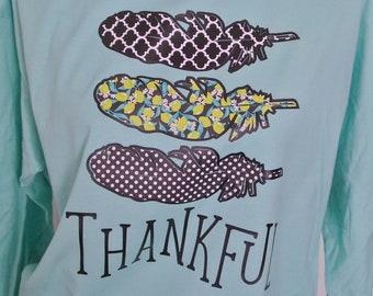 Thankful shirt, long sleeve tee, feather tee, fall tee, fall long sleeve shirt, Thanksgiving tee, Christmas shirt, holiday tshirt,