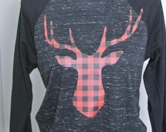 Reindeer Baseball tee, deer canvas tee, holiday tee, holiday baseball tee, Christmas 3/4 sleeve tee, holiday 3/4 sleeve baseball tee