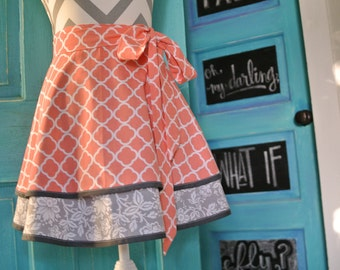 Coral and Grey Quatrefoil Layered 2 Tier Half Apron