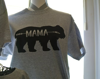Mama Bear Shirt, Mom Tee, Mom gift, Mommin' ain't easy, Birth Announcement Tee
