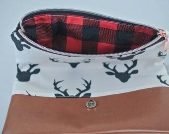 Zippered Clutch | folded clutch | zipper pouch | Travel Bag | Buffalo Plaid | Deer Bag | Overnight Tote | folded Clutch | Small Purse
