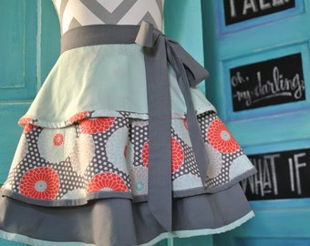 Coral and Mint Floral Layered 3 Tier Half Apron
