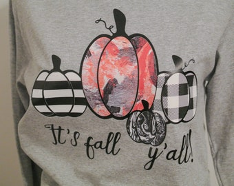It's Fall Y'all shirt, long sleeve tee, pumpkin tee, fall tee, fall long sleeve shirt, halloween tee, thanksgiving shirt, holiday tshirt