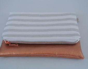 Zippered Clutch | folded clutch | zipper pouch | Travel Bag | Rose Gold | Stripes Bag | Overnight Tote | folded Clutch | Small Purse