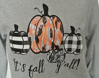 It's Fall Y'all shirt, long sleeve tee, pumpkin tee, fall tee, fall long sleeve shirt, halloween tee, thanksgiving shirt, holiday tshirt