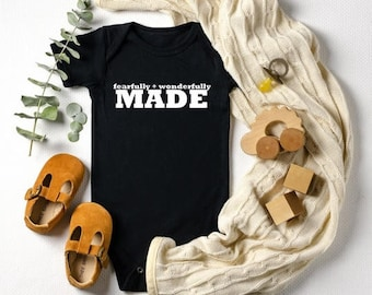 Baby Announcement Onesie, Fearfully and Wonderfully Made, Baby Shower Gift, Baby Announcement Bodysuit, Sweet Baby Onesie