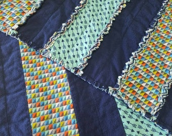 Soft Flannel Baby/Lap Blanket - Rag-Style Patchwork Strips