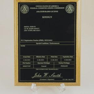 Real-Sign\u2122 FCC Amateur Radio License Plaque for Ham Radio Operators