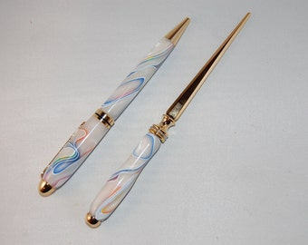 Swirled Creme Colored European Style Pen and Letter Opener Set