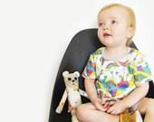 Kids Squirrel T-shirt. ORGANIC Toddler shirt. Baby boys woodland tee. Whimsical girls. Rainbow clothes. Kites. Hot air balloon. Modern gift.