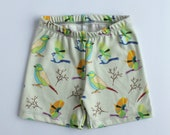 Kids summer clothes. Baby bird shorts. Toddler pull on shorts with sparrows. Girls loose shorts. Boys elastic bottoms. Organic baby clothes