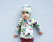 ORGANIC toddler top -Boys Long sleeve/ Girls shirt. Squirrels clothes. Kids Woodland. Little Hipster shirt kites, hot air balloon, rainbow.