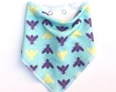 ORGANIC bibdana Flies. Bandana bib with bugs. Modern baby bib. Turquoise Baby drool bib Fly. Insects Toddler scarf. Hipster baby shower gift