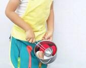 Organic Kids apron •Modern Yellow Apron for baking & cooking •Kids Gift •Toddler Boys/ Girls full apron with pocket •Pretend Play kitchen