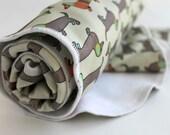 Dachshund baby blanket •ORGANIC newborn blanket •Wiener dog design •Baby Receiving blanket with pets •Weiner Dog baby gift in neutral color