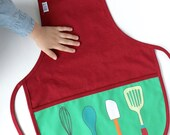 Kids baking Apron -Organic Red apron- Childs cooking apron -Retro crafts smock - Toddler full apron w/ pocket -Pretend Play Gift for kids