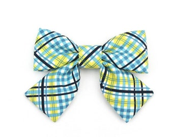 Plaid Girl Dog Collar Bow Cat Bow Spring or Summer Blue and Yellow Tartan Dog Bow Tie with Tails - Parker