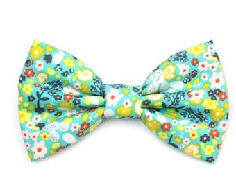 Spring Floral Dog Bow Tie Aqua Blue Dog Bowtie Preppy Cat Bowtie - Piper