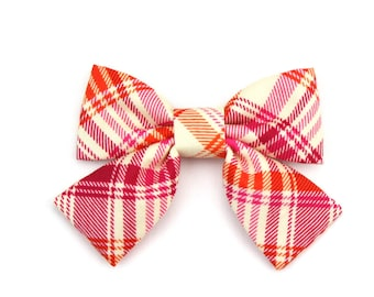 Pink Girl Dog Collar Bow Cat Bow Orange Plaid Spring or Summer Tartan Dog Bow Tie with Tails