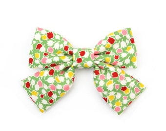 Girl Dog Collar Bow Floral Dog Bow Green Cat Bow Girly Bowtie with Tails - Bailey