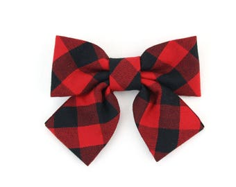 Buffalo Check Girl Dog Collar Bow Cat Bowtie Red Black Holiday Winter Plaid Dog Bow Tie with Tails