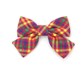 Gingham Girl Dog Collar Bow Cat Bow Fuchsia Yellow Purple Green Spring or Summer Check Dog Bow Tie with Tails