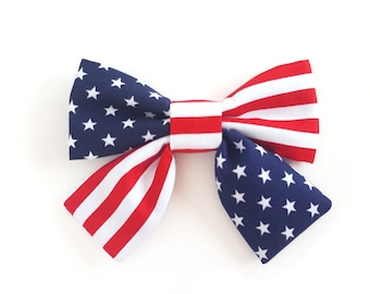 American Flag Dog Collar Bow 4th of July Patriotic Cat Bow Stars and Stripes Girl Dog Bow Red White Blue Bow with Tails