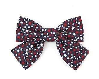 Mini Sternen Schleife Patriotischen Mädchen Hund Hundehalsband Schleife Rot  Weiß Blau Mädchenhaft Fliege Für Katzen