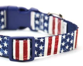 Americana collare di cane a stelle e strisce della bandiera americana  collare di cane patriottico rosso bianco blu collare di cane 9383d8a91e50