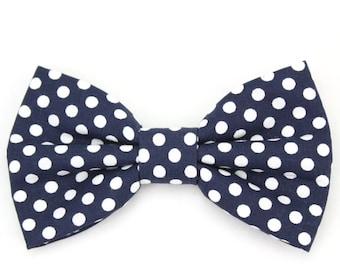 Navy Dog Bow Tie Cat Bow Tie Polka Dot Dog Bowtie Dark Blue and White Dog Bow Tie