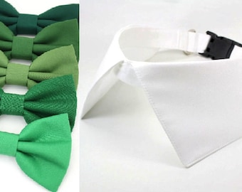 Dog White Wedding Collar Green Bow Tie Ring Bearer Dog Shirt Collar with Leash Attachment