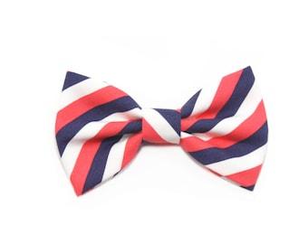 Coral Navy Striped Dog Bow Tie Cat Bow Tie Wedding Dog Bowtie - Gabriel
