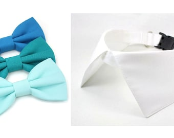 Dog Wedding Collar Teal Green Blue Seafoam Bow Tie Ring Bearer Formal Pointed Shirt Collar with Leash Attachment