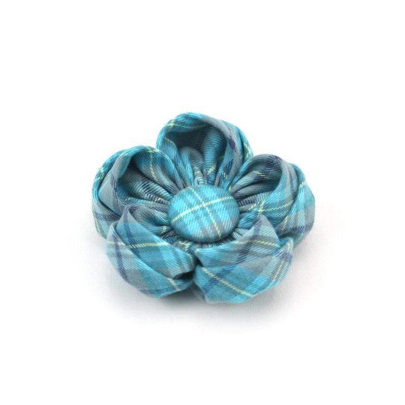 Ice Blue Plaid Dog Collar Flower /'The Glacier/' Teal Blue Tartan Girl Dog Flower Collar Accessory
