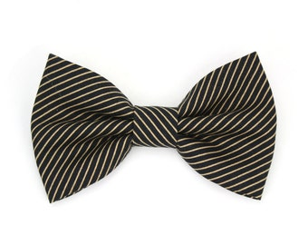 Black and Gold Dog Bow Tie Cat Bow Tie Striped Wedding Dog Bow Tie Pinstripe Dog Bowtie