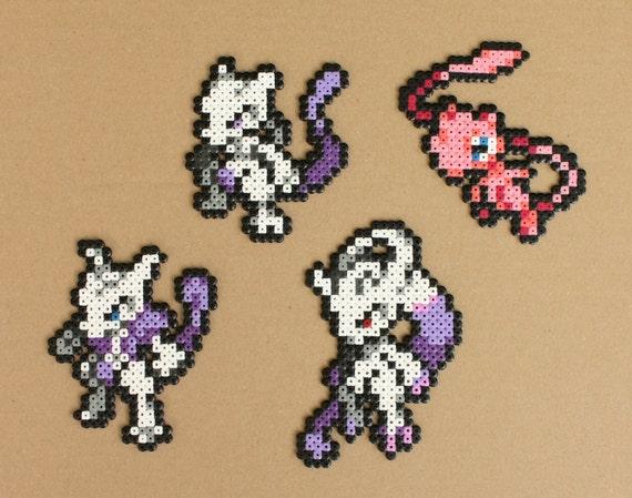 Pokemon Perler Bead Sprite Art Mew Mewtwo Mega Mewtwo