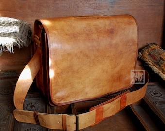 """FHT Camel Leather Professor Messenger Bag Shoulder Travel Satchel 12""""x16""""x6"""""""