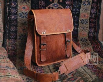 """FHT Camel Leather Messenger Bag Shoulder Satchel 9""""x11"""""""