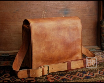 "FHT Camel Leather Messenger Bag Shoulder Satchel 12""x16"" Full Flap"