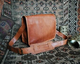 """FHT Camel Leather Messenger Bag Shoulder Satchel 8""""x12"""""""
