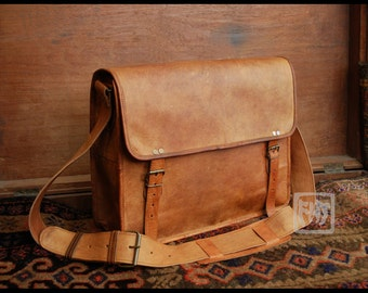 "FHT Camel Leather Messenger Bag Shoulder Satchel 12""x16"" Half Flap"