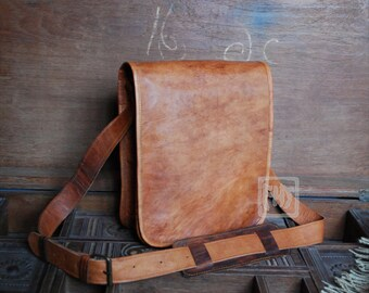 "FHT Camel Leather Messenger Bag Shoulder Satchel 9""x11"" Full Flap"