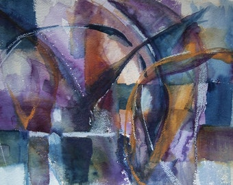 Original Abstract Watercolor with Crayon, Large Wall Art, Fine Works, Modern Themed Painting, Geometric Shapes, Purple Gray and Gold
