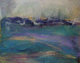 Ready to Frame, Small Original Abstract Watercolor Landscape with Crayon, Matted to 12 x 16 inches, Green Hills