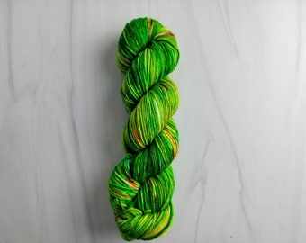 Bright Christmas Tree - Ready to Ship - Hand Dyed Variegated Yarn - worsted weight 219 yards RTS 100g green with rainbow spots xmas